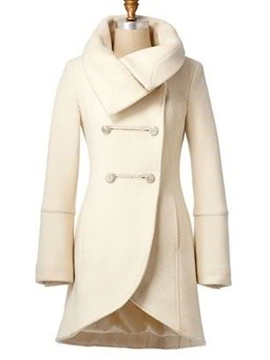 Ericdress Solid Color Turn-Down Asymmetric Coat