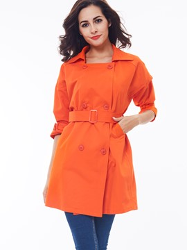 Ericdress Solid Color Square Collar Slim Trench Coat