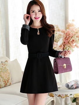 Ericdress Belt Long Sleeve Slim Casual Dress
