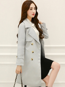 Ericdress Slim Belt Double-Breasted Trench Coat