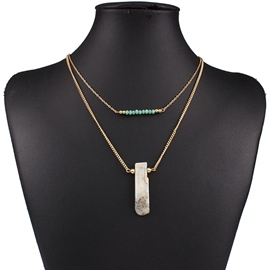 Ericdress Geometric Natural Stone Pendant Necklace