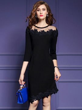 Ericdress Asymmetric Patchwork Little Black Dress