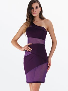 Ericdress Soild Color Mesh See-Through Sexy & Clubwear Dress