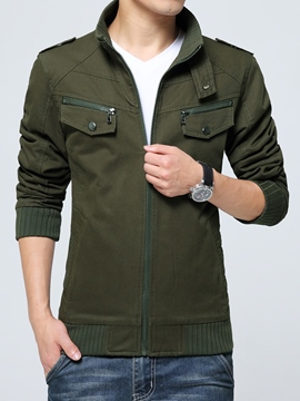 Ericdress Pocket Zip Slim Men's Jacket