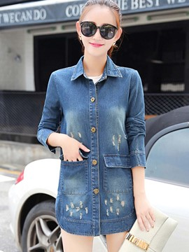 Ericdress Straight Single-Breasted Ripped Denim Outerwear