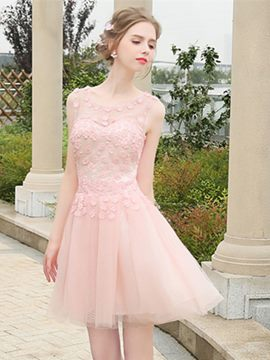Ericdress A-Line Scoop Flowers Mini Homecoming Dress