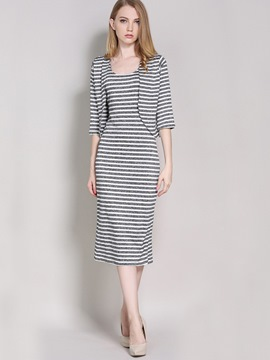 Ericdress Fashion Stripe Dress Suit