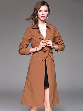 Ericdress Solid Color Belt Lace-Up Slim Trench Coat