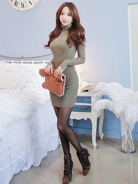 Ericdress Knitting Solid Color Turtleneck Bodycon Dress