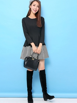 Ericdress Patchwok Knit Swallow Gird Casual Dress
