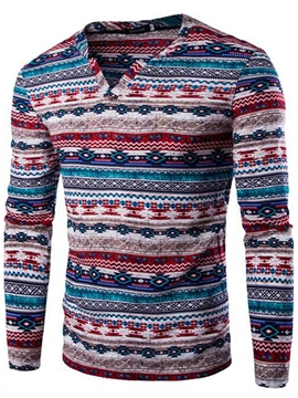 Ericdress Ethnic Style V-Neck Long Sleeve Men's T-Shirt