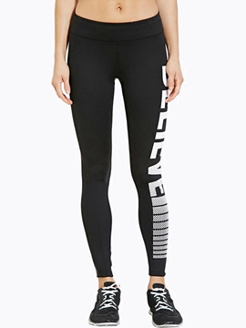 Ericdress Letter Print Sports Leggings Pants