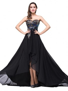 Ericdress A-Line Sweetheart Appliques Beading Court Train High Low Evening Dress