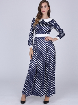 Ericdress Polka Dots Patchwork Peter Pan Collar Maxi Dress