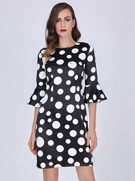 Ericdress Polka Dots Flare Sleeve Bodycon Dress