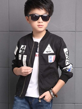 Ericdres Pattern Printed Metal Zipper Boys Outerwear