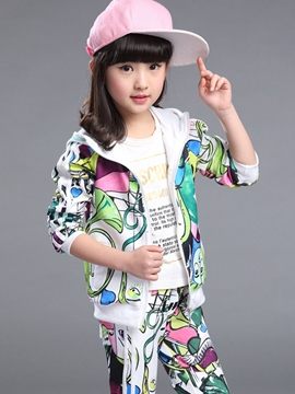 Ericdress Colored Printing Hooded Two-Piece Girls Outfit