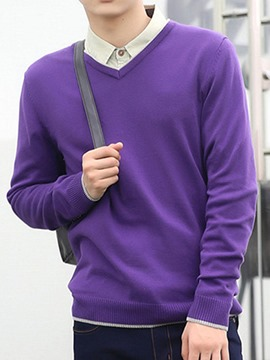Ericdress Simple Casual V-Neck Pullover Men's Sweater