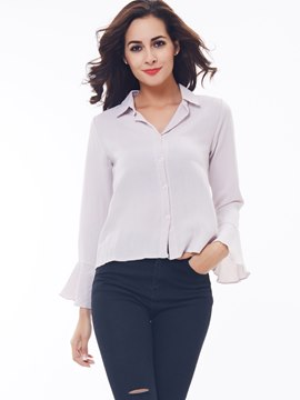Ericdress Solid Color Loose Single-Breasted Blouse