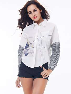 Ericdress Color Block Stripped Printed European Blouse