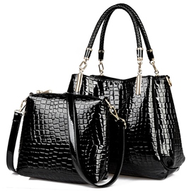 Ericdress Croco-Embossed Patent Leather Handbags(2 Bags)