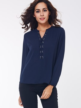Ericdress Blue Lace Front Blouse