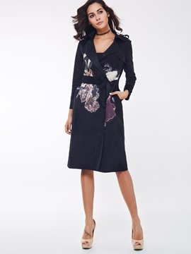 Ericdress Blck Floral Print with Belt Trench Coat