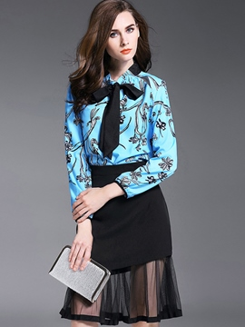 Ericdress Ladylike Print Blouse Suit