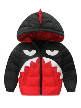 Ericdress Color Block Cartoon Hooded Down Jacket Boys&Girls Outerwear