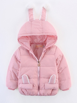 Ericdress Rabbit Ears Patch Hooded Down Jacket Girls Outerwear