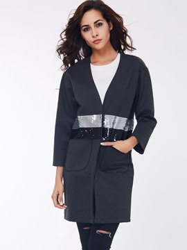 Ericdress Color Block V-Neck Sequins Coat