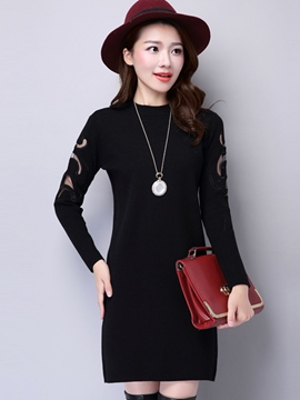 Ericdress Plain Hollow Stand Collar Sweater Dress