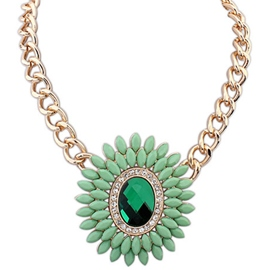 Ericdress Vogue Gem Flower Pendant Necklace