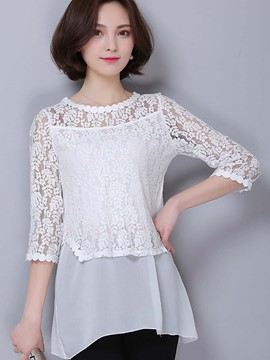Ericdress Lace Crochet Three-Quarter Blouse