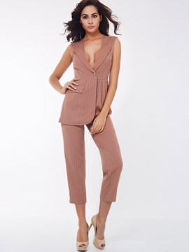 Ericdress OL Stripe Blazer Jumpsuits Pants