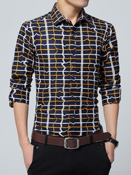 Ericdress Vogue Plaid Long Sleeve Slim Men's Shirt