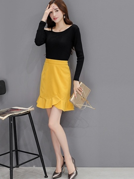 Ericdress Sweet Solid Color Frill Skirt Suit