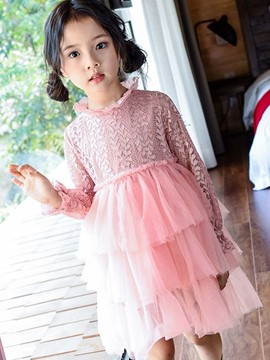Ericdress Wave Collar Lace Hollow Layered Girls Dress