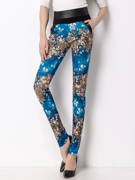 Ericdress High-Rise Floral Print Leggings Pants