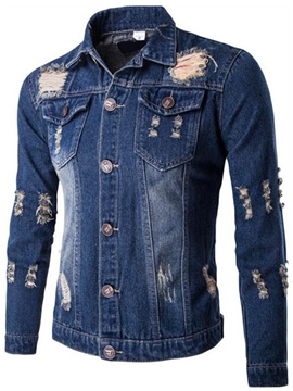 Ericdress Street Style Holes Casual Denim Men's Jacket