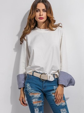 Ericdress White Patchwork Sleeve Blouse