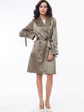 Ericdress Solid Color Double-Breasted Lace-Up Elegant Trench Coat
