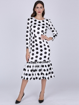 Ericdress Polka Dots Patchwork Mermaid Sheath Dress