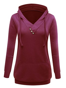 Ericdress Solid Color V-Neck Asymmetric Hoodie