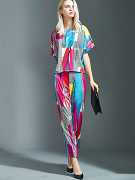 Ericdress Fashion Print Two-Piece Suit