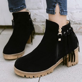 Ericdress Lovely Suede Tassels Square Heel Ankle Boots