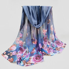 Ericdress Rose Printed Chiffon Scarf