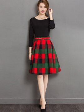 Ericdress Elegant A-Line Plaid Skirt Suit