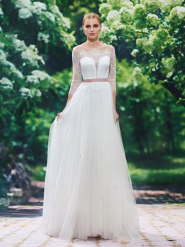 Ericdress Beautiful Jewel A Line Wedding Dress With Sleeves