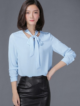 Ericdress Loose Lace-Up Long-Sleeve Blouse